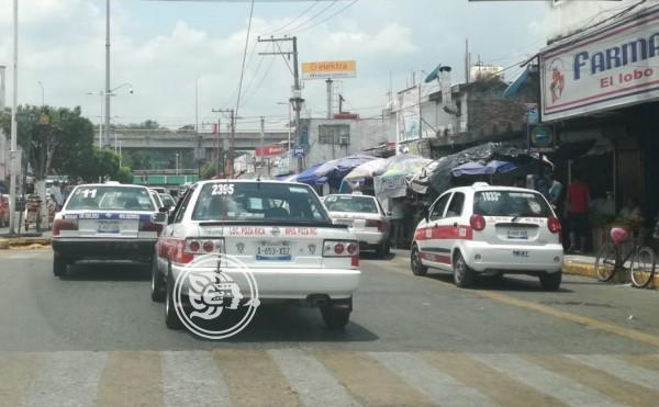 Acusan taxistas de Poza Rica atrasos en emplacamiento