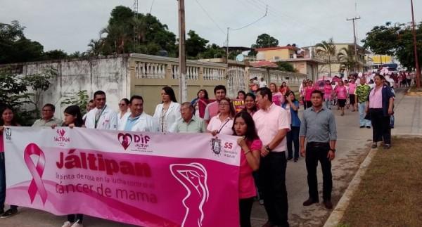 En Jáltipan, realizan marcha para prevención del cáncer de mama