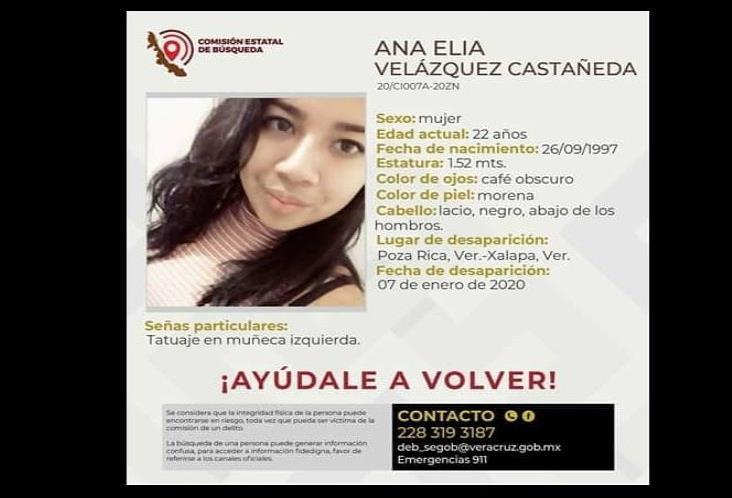 Ana Elia, de 22 años, desapareció hace dos días en Poza Rica