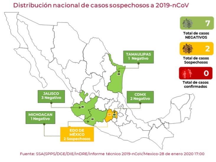 Detectan dos casos sospechosos de coronavirus en el Estado de México