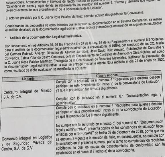 Otorga INBAL licitación a empresa sin permiso vigente