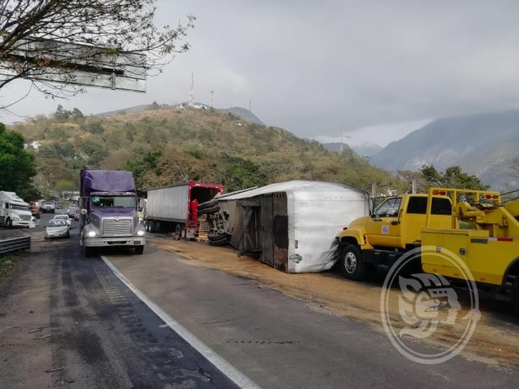 Vuelca tráiler que transportaba leche en la Puebla-Córdoba