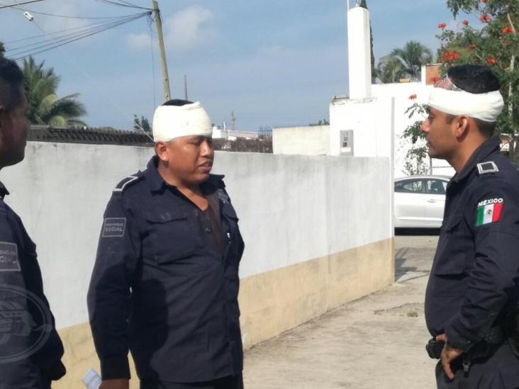Cuatro policías atacados a tubazos en Tuxpan Veracruz