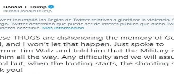 Twitter oculta mensaje de Trump por glorificar la violencia