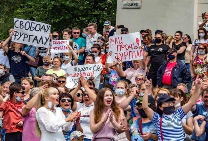 Protestan miles en Rusia contra persecución de Serguei Furgal