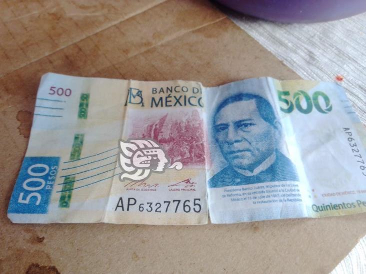 Andan defraudando con billetes falsos de 500 pesos en Minatitlán