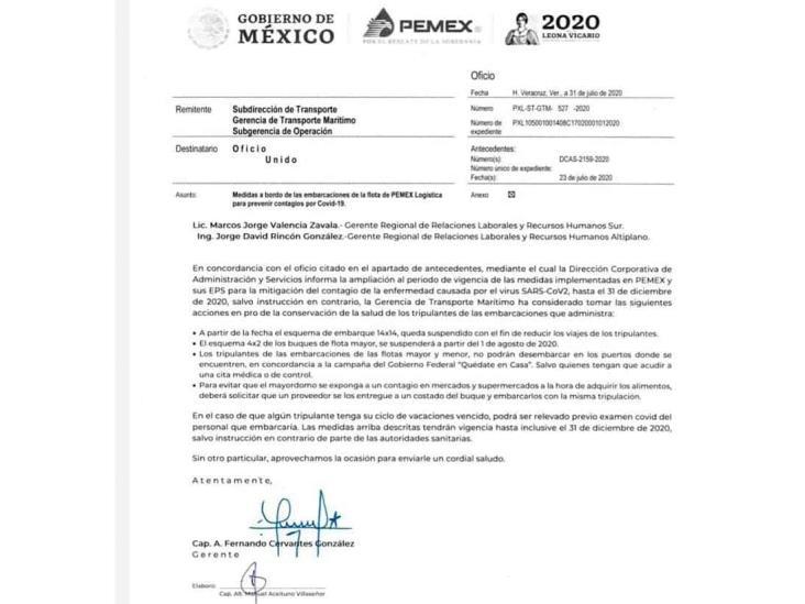Pemex prohíbe desembarcos hasta diciembre por coronavirus
